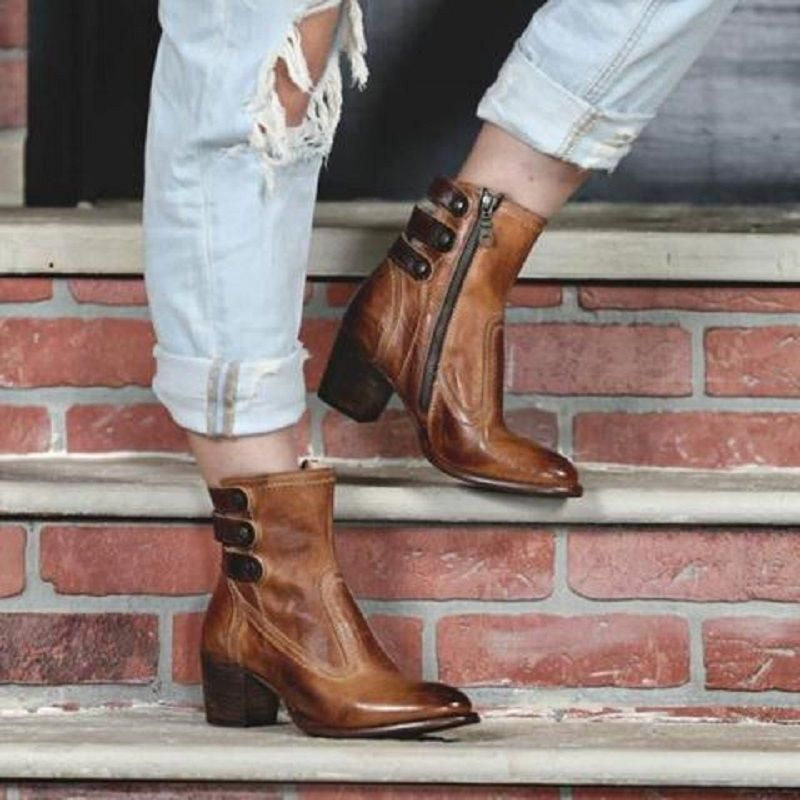 d0036760718 BLOCK HEEL POINTED TOE SIDE ZIPPER PLAIN VINTAGE CASUAL BOOTS  Ankle Boots   Leatrend