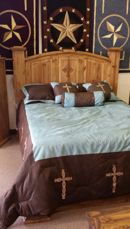 Texas Rustic Bed Rustic bedding, Rustic furniture, Bed
