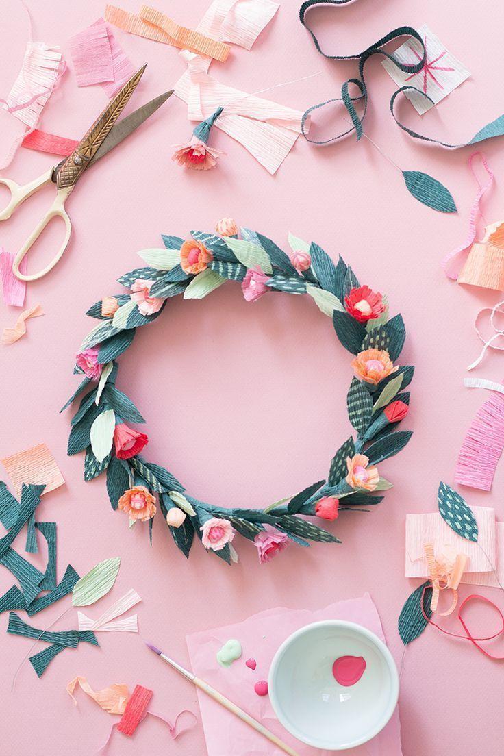 DIY Paper spring floral crown  Paper flower tutorial Floral crown