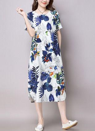 Vestidos Algodón Floral Midi Manga Corta 1054836