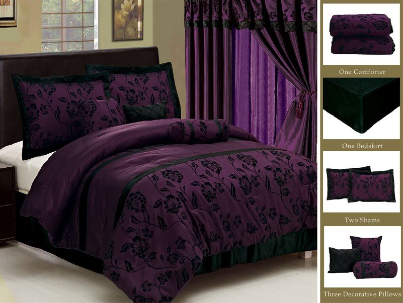 New Royal Purple Black Bedding Flock Satin Comforter  set-Full,Queen,King,Curtain