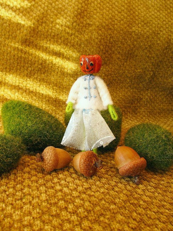 Miniature Winter Holiday Pumpkin Head Doll by FreshProduceDesigns