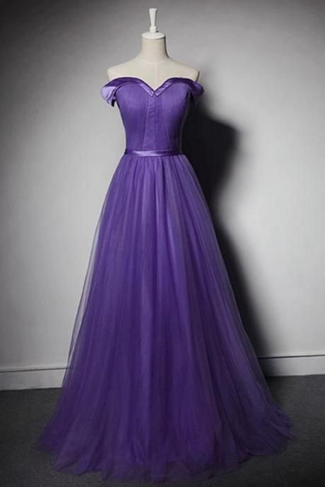 Hot Sell Sexy Off Shoulder Prom Dresspurple Pleated Formal Evening