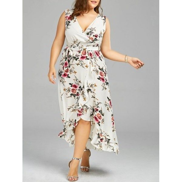 cb7579b3389 Plus Size Tiny Floral Overlap Flounced Dress White ( 20) ❤ liked on  Polyvore featuring dresses