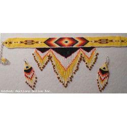 "Navajo Style Indian Beadwork Bib Necklace Earrings ""Setting Sun"" Get an OdzBodz Lifetime Internet Store for only $49 at www.OdzBodz.com."