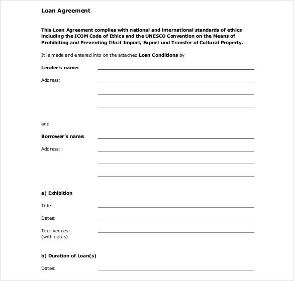 Standard Loan Contract Template Free Format   Great Loan