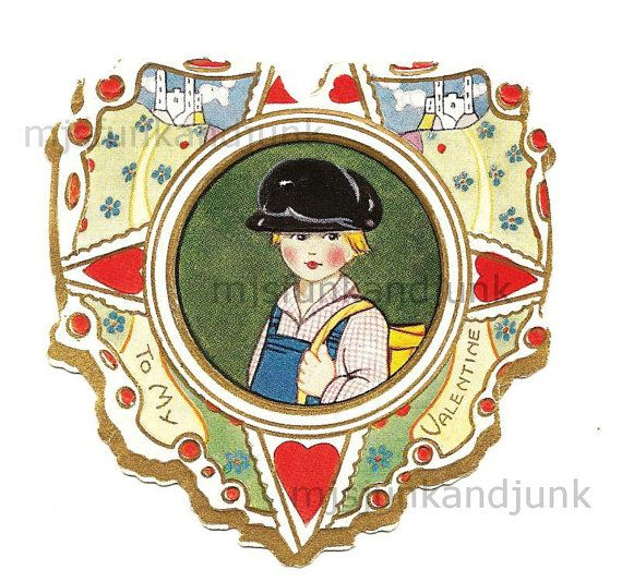 Digital Image Antique Valentine Heart Child With By
