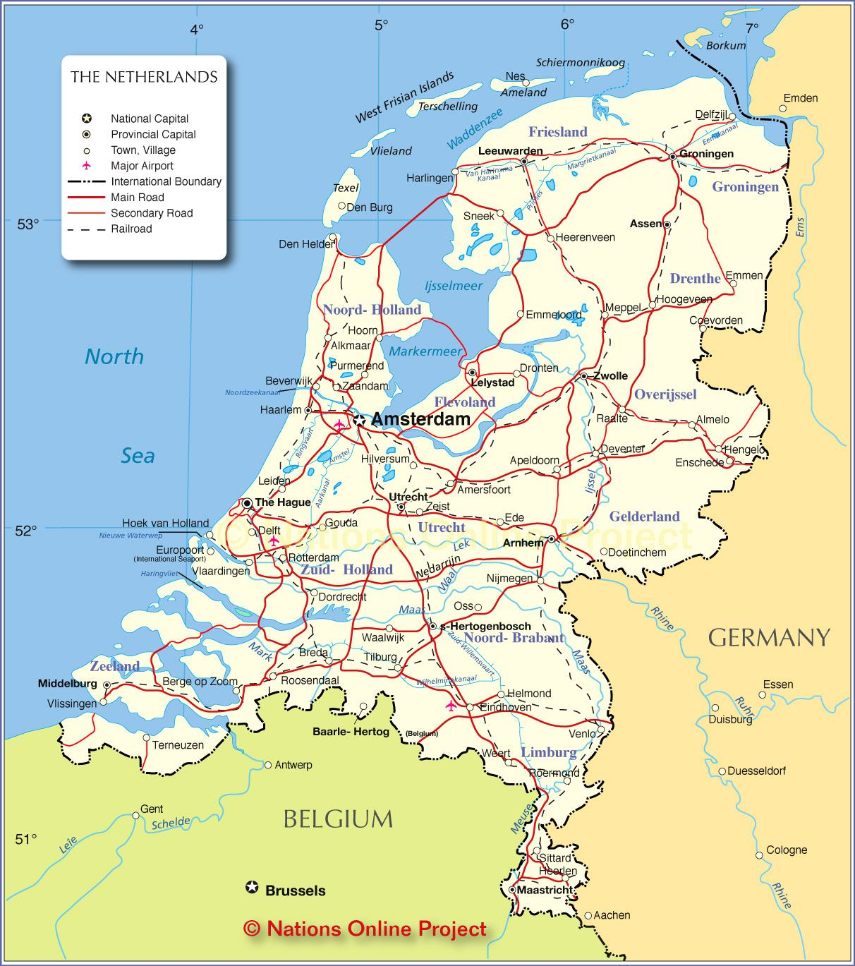 Political Map Of Netherlands Nations Online Project Netherlands Map Belgium Map Holland Map