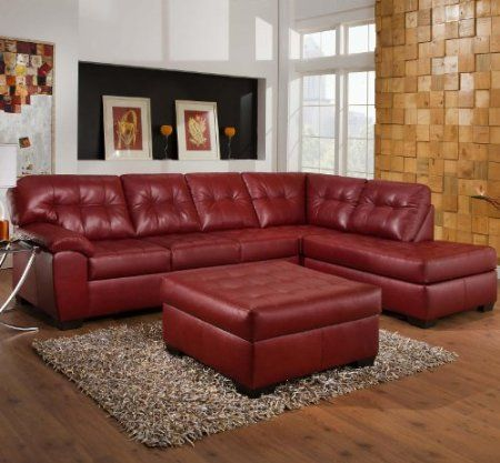 Amazon.com: 3PC Red Leather Sectional Sofa | For the Home ...
