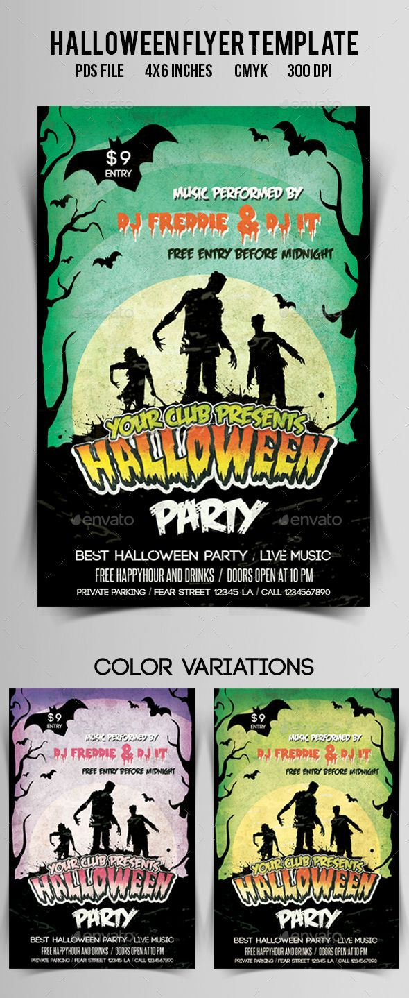 Halloween Flyerposter Vol2 Psd Template Flyer Pumpkin