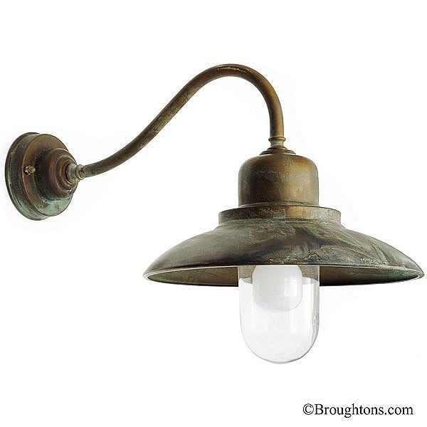 Bianco swan neck outdoor wall light aged copper broughtons of leicester ltd