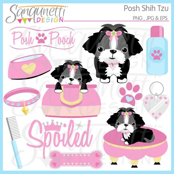 Posh Shih Tzu Clipart Comes With Dogs Bed Dog Tag Bone Bowl
