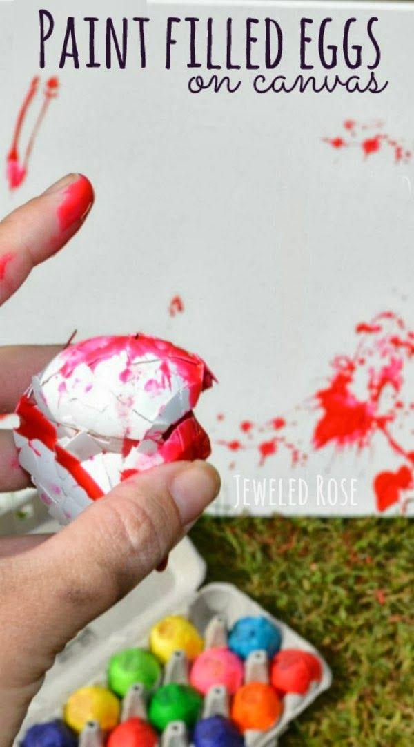 Paint Filled Eggs | Gefüllte eier, Leinwand und Kinderbasteleien
