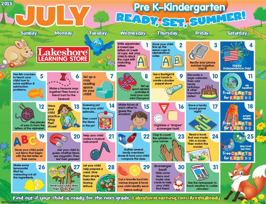 July  Pre KKindergarten Activity Calendar  Parenthood