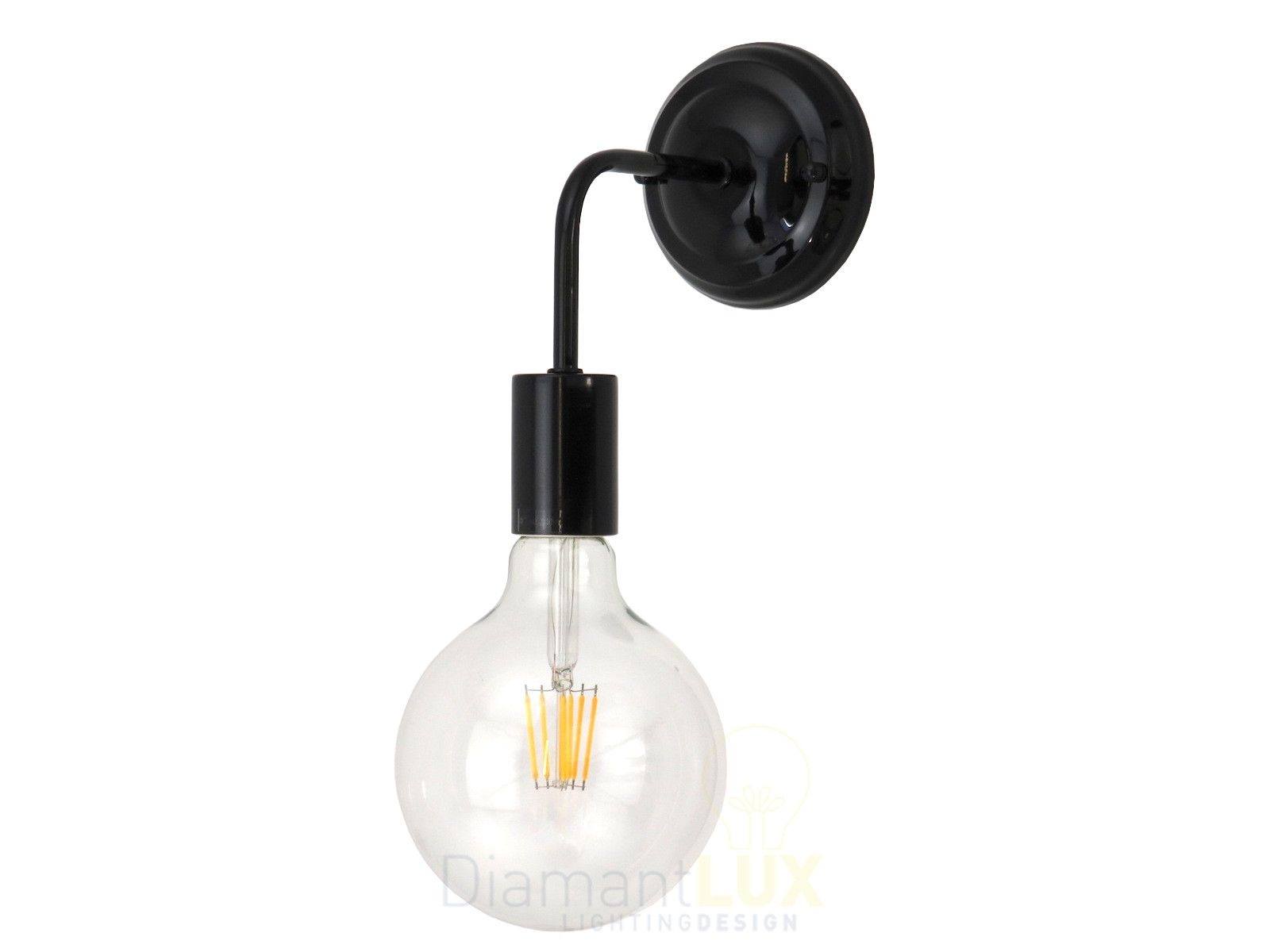 Applique moderno minimale nero con lampadina a led a filamento