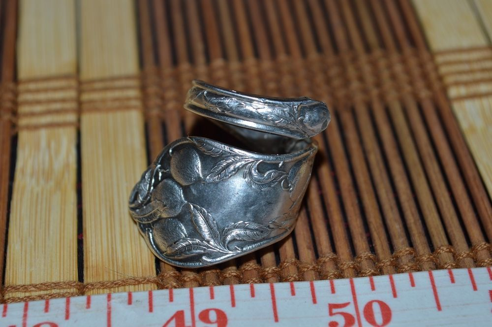 Hand Hammered / Made Wide Silver Spoon Detailed Fruit Ring Size 8.5 -9  FSR14 #Handmade #vintagespoonring