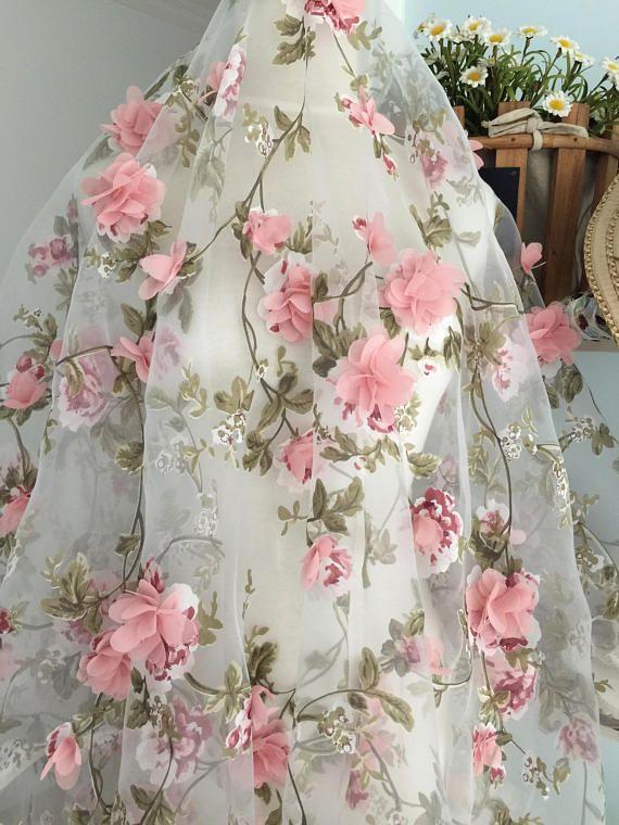 dusty fabric lace floral organza blossom ivory oganza printing leaf bridal yard rosette chiffon beaded