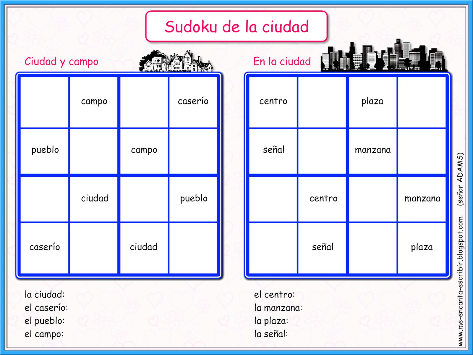 Me Encanta Escribir En Espanol Juegos De Sudoku La