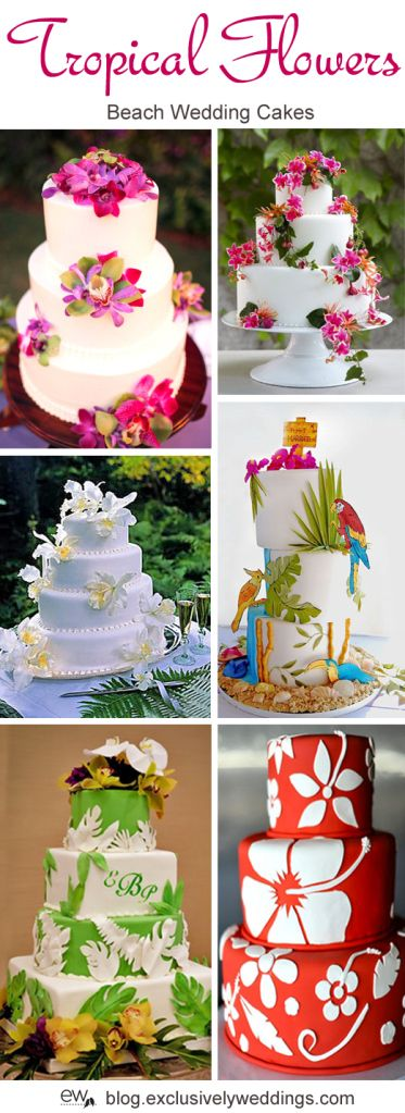 Tropical Flowers Wedding Cakes - Read more http://blog.exclusivelyweddings.com/2014/04/28/five-perfect-designs-for-your-beach-wedding-cake/