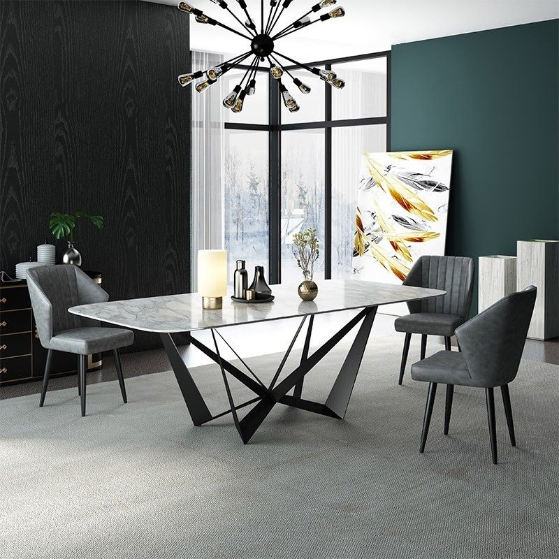 Modern Stylish Rectangle White Faux Marble Top Dining Table With Black Metal Base In Small Medium Large Muebles De Comedor Muebles Decoración De Unas