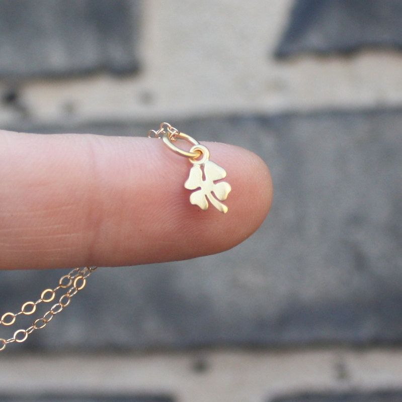 14k gold tiny four leaf clover charm necklace st patricks day 14k gold tiny four leaf clover charm necklace st patricks day jewelry spring celebrations 14k 18k yellow rose white gold platinum aloadofball Gallery
