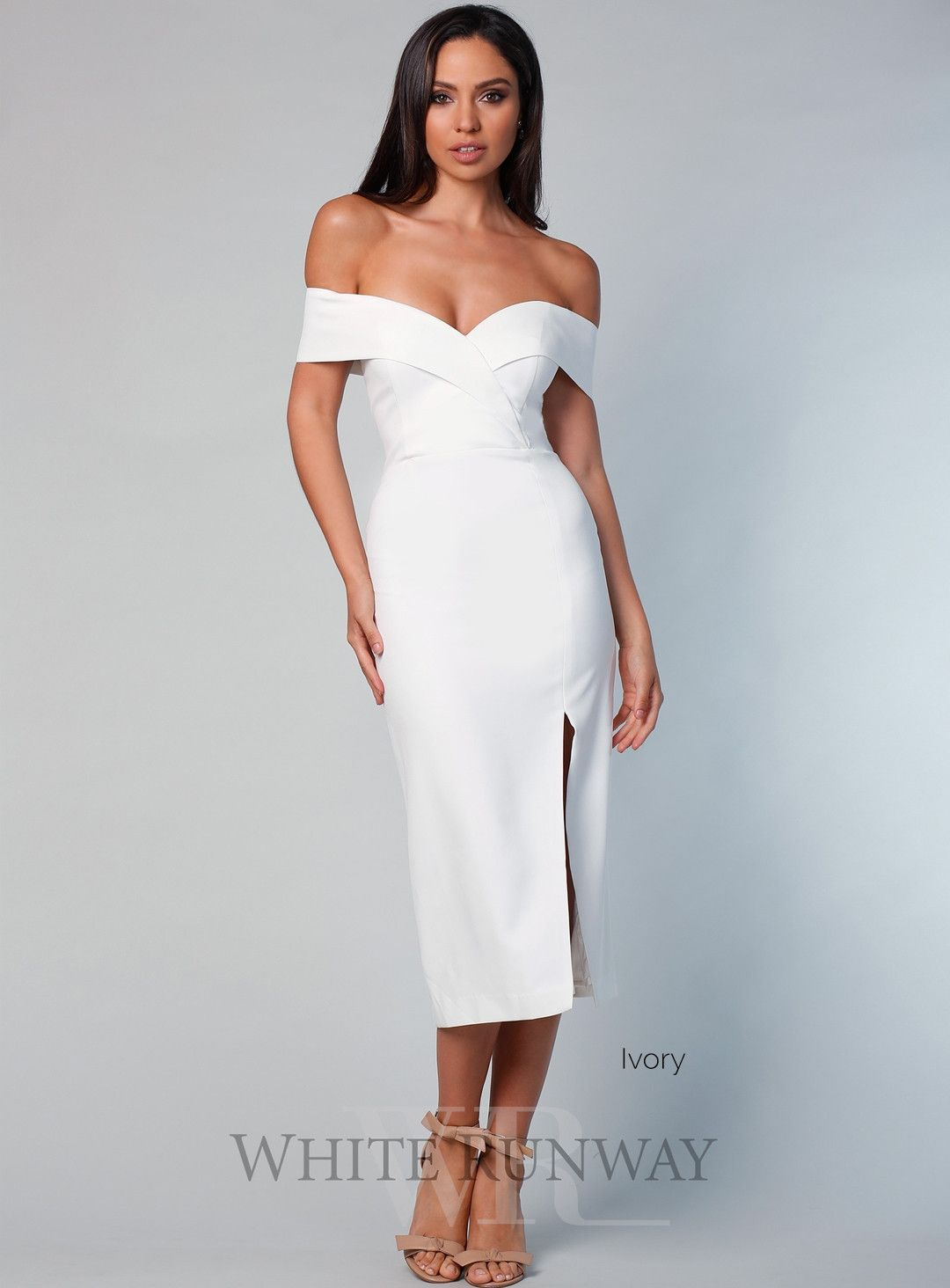 Gia off shoulder midi wedding dress pinterest shoulder