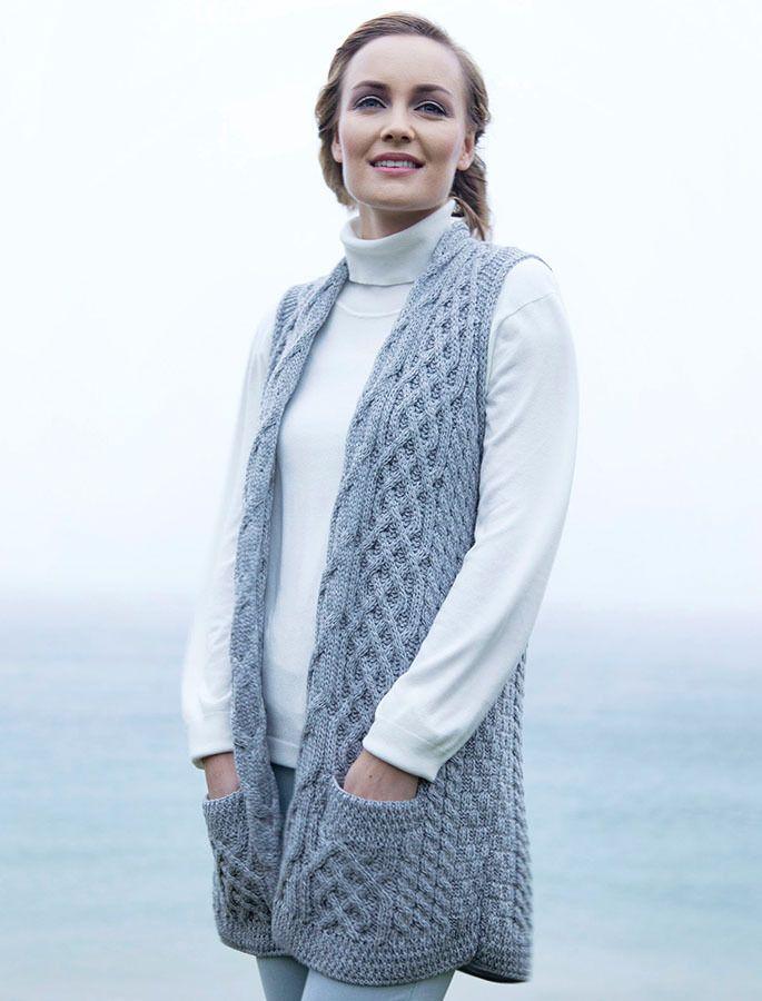 Cable Aran Waistcoat, Ladies wool waistcoat, sweater vest for women ...
