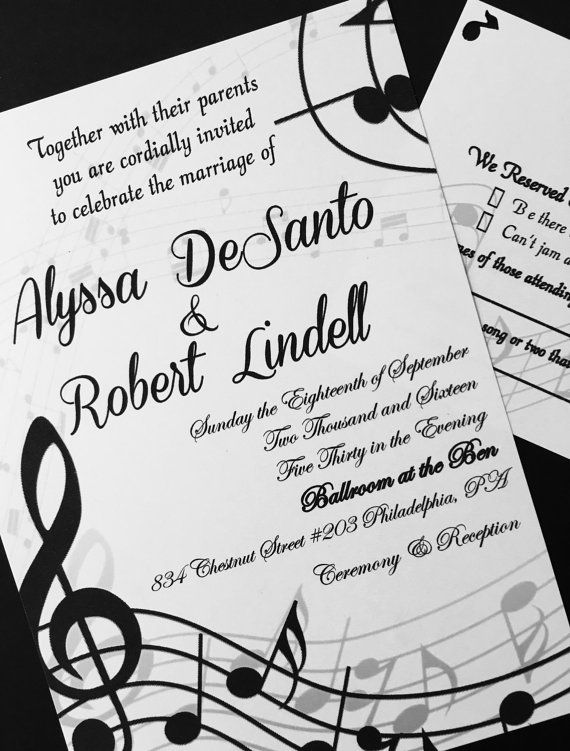 Music Themed Wedding Invitations Before The Rings Etsy Wedding
