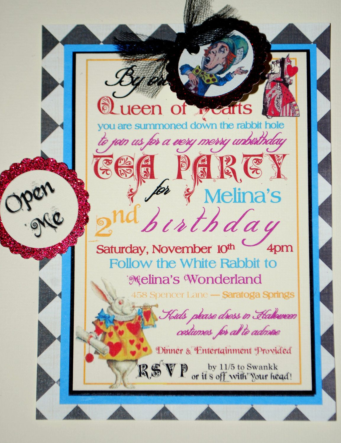 Alice in Wonderland Mad Hatter Tea Party Invitations Vintage