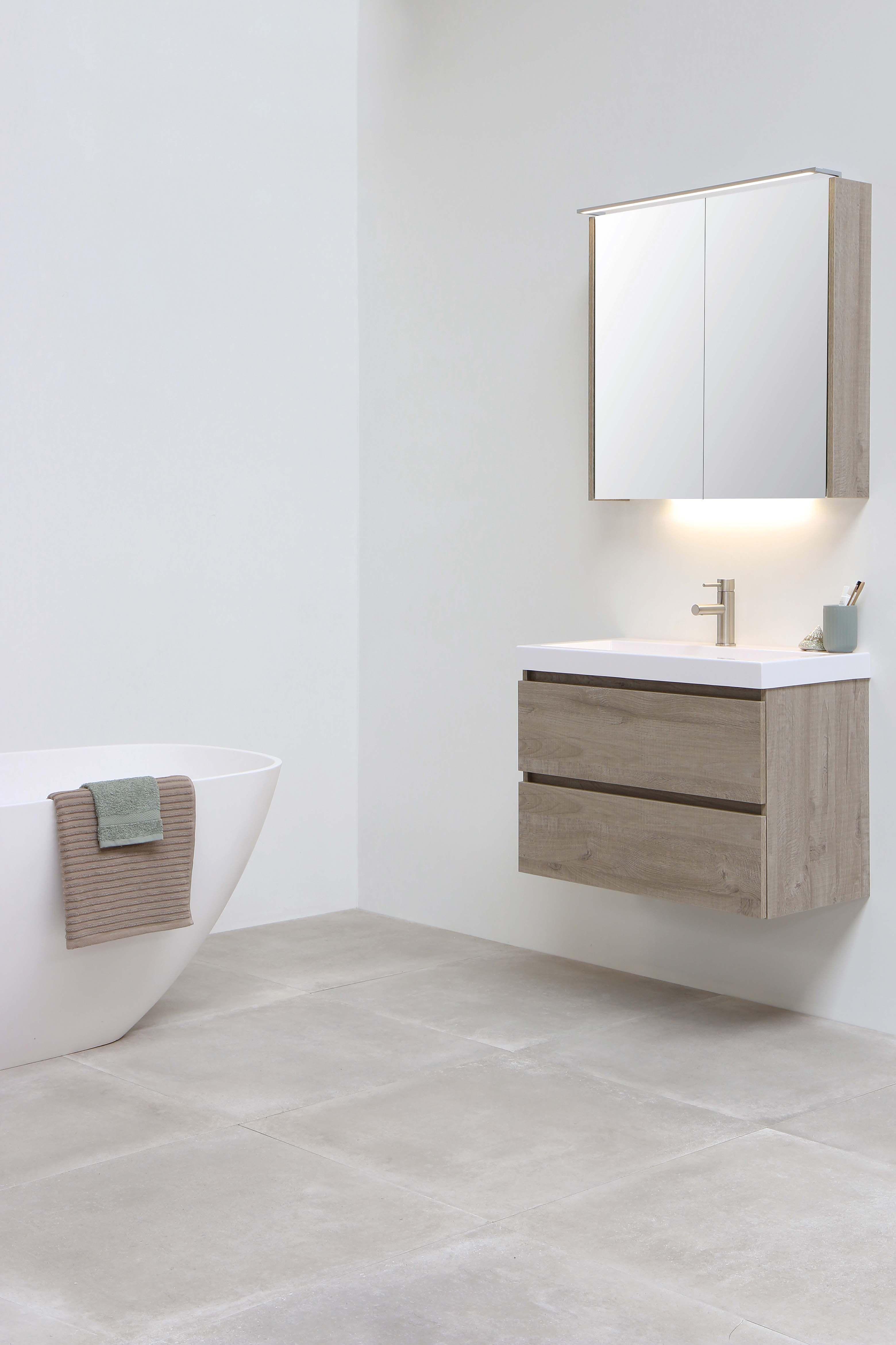INK DOCK glans wit 80 cm onderkast houten keerlijst greige eiken badkamer wastafel