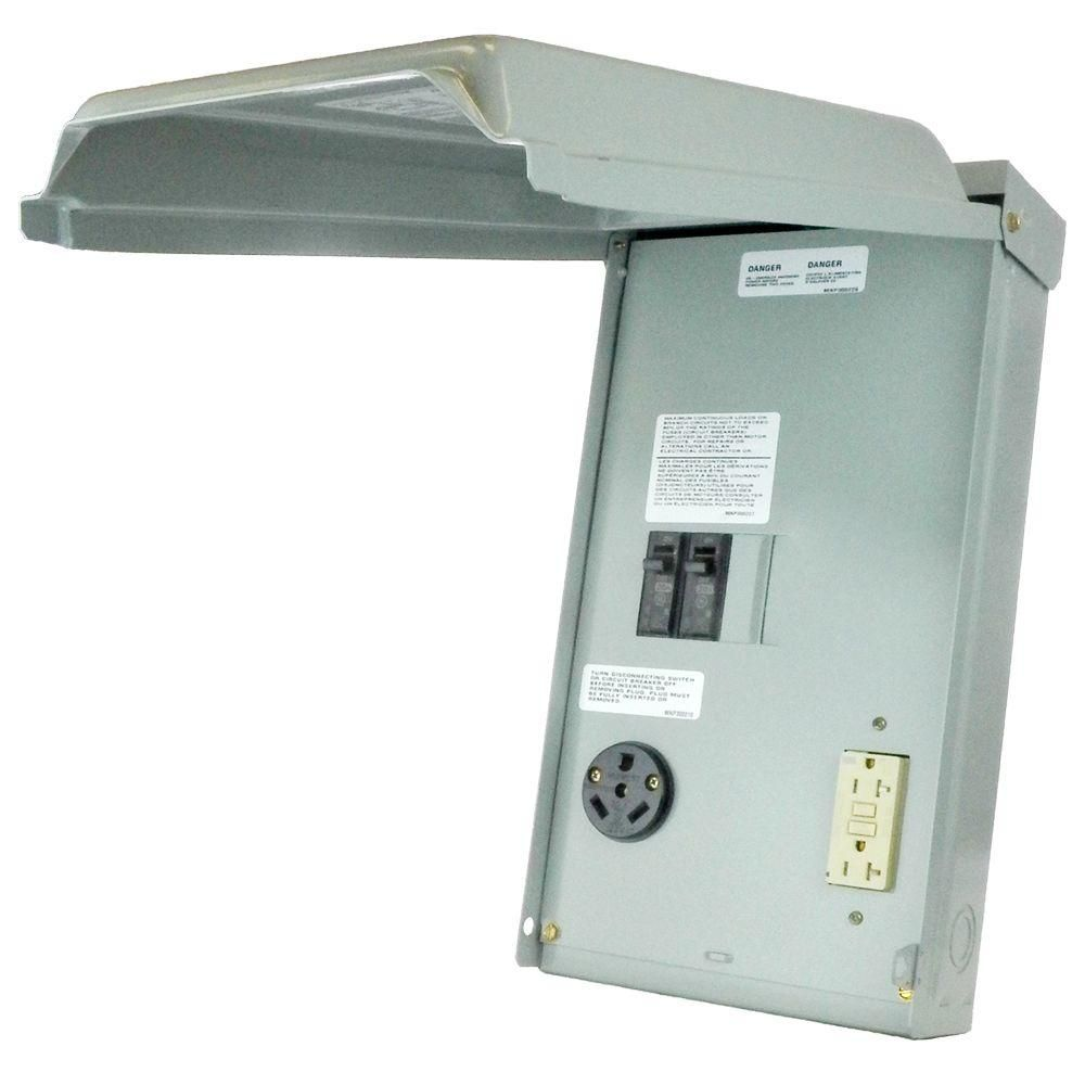 Ge rv panel with 30 amp rv receptacle and 20 amp gfci