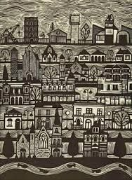 Image result for cityscape woodcut