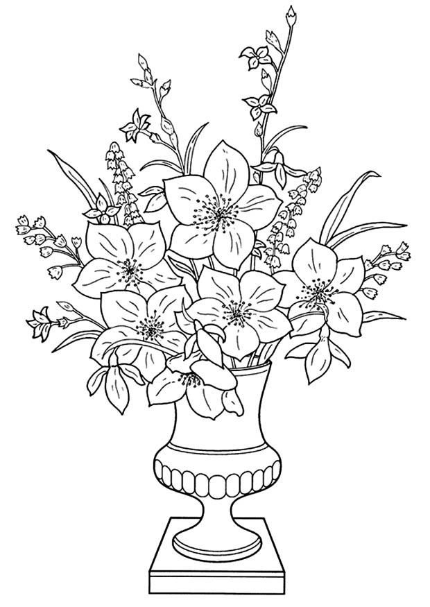 Welcome To Dover Publications 9557 Coloring Sheet Flowers In Vase For