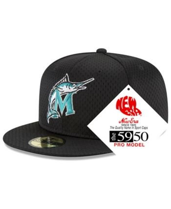 new concept 70da5 3043d New Era Florida Marlins Retro Classic Batting Practice 59FIFTY Fitted Cap -  Black 7 1 2