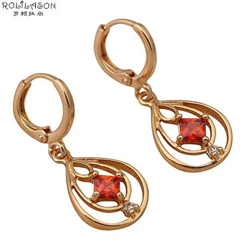 BeOL brand earrings new Garnet Zirconia Drop Earrings 18k gold plated Crystal Party fashion Jewelry ** Find out more details @ http://www.amazon.com/gp/product/B01H0E8UNW/?tag=jewelry3638-20&pab=250716164714