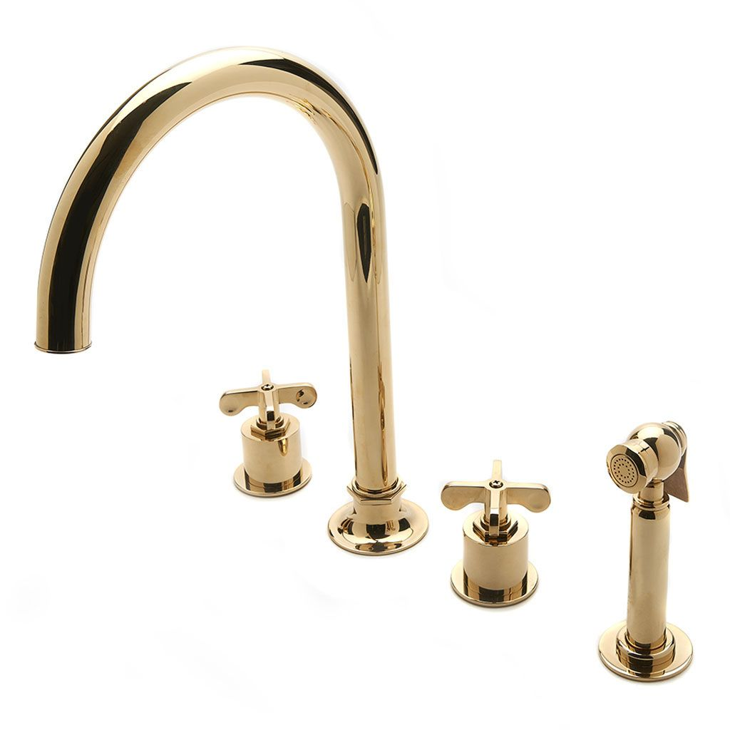 Henry Three Hole Gooseneck Kitchen Faucet Metal Cross Handles And Spray Gooseneck Kitchen Faucet 3 Hole Kitchen Faucet Kitchen Faucet With Sprayer