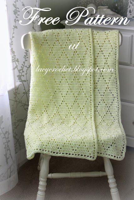 Lacy Crochet Diamond Stitch Baby Blanket Free Pattern All Free