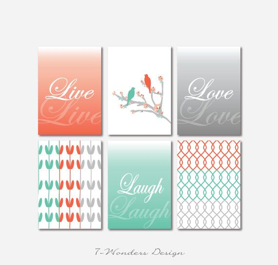 Inspirational Prints Live Love Laugh // Wall Of Inspiration // SET Of (6