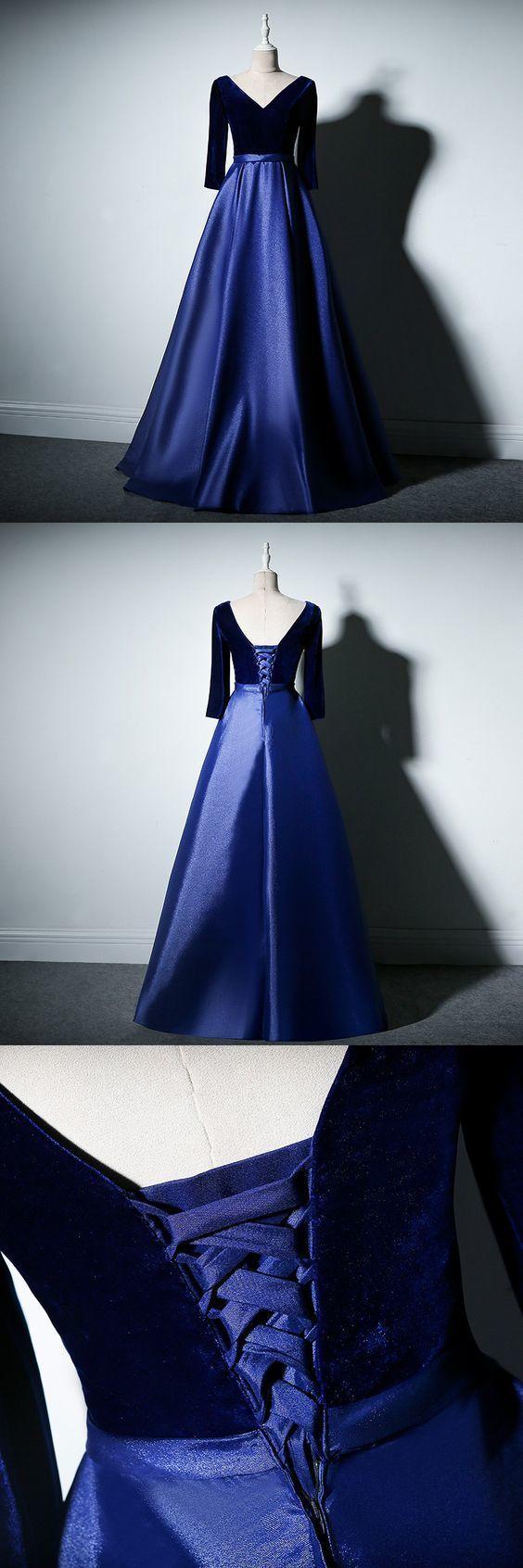 Chic a line prom dress simple modest elegant cheap long v neck prom