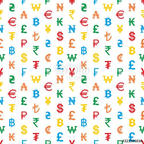 Seamless background from colored currency symbols of different countries