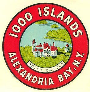 1,000 Islands, Vintage Decal Boldt Castle, Alex Bay, NY