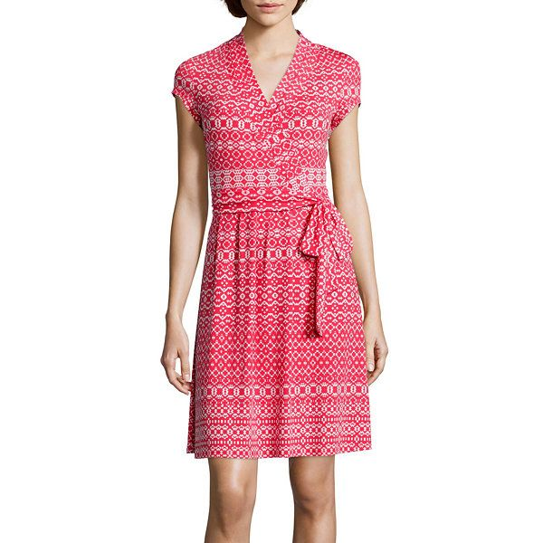 Liz Claiborne® Cap-Sleeve Wrap Dress - JCPenney