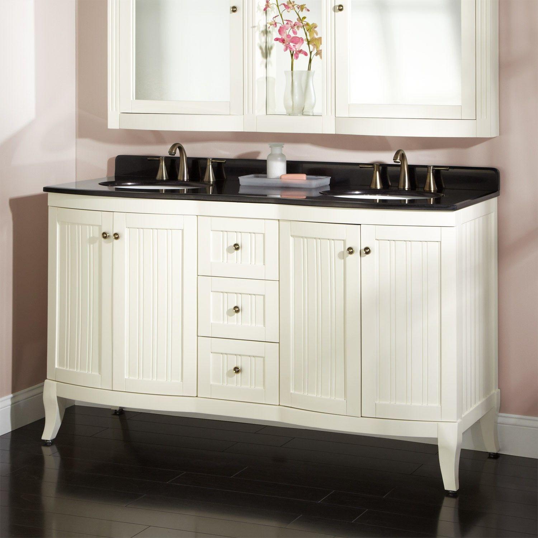white vanity with black top | Black Top White Bathroom Decoration ...