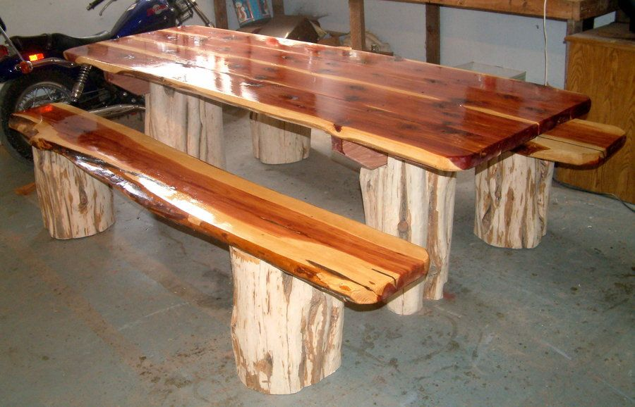 Red cedar picnic table with separate benches by