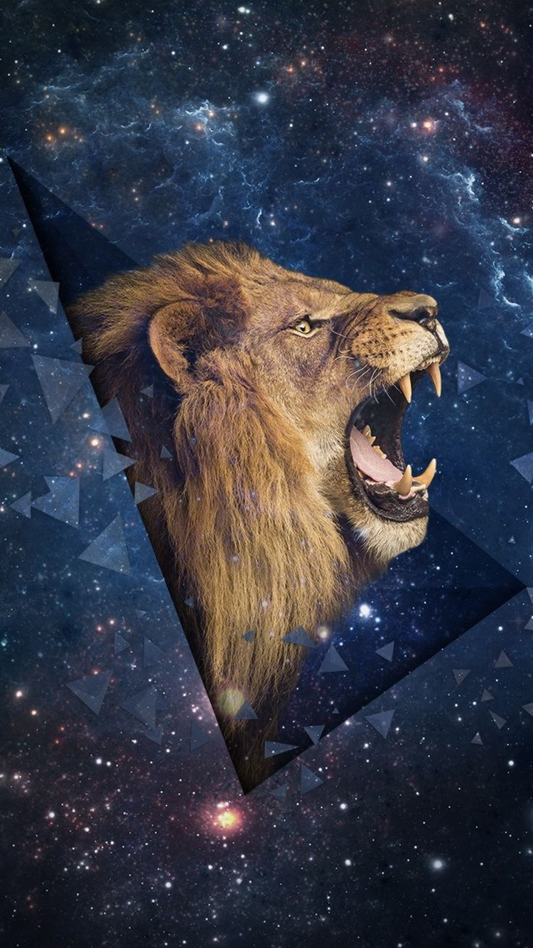 Download Roaring Lion Space Background IPhone 6 Wallpaper