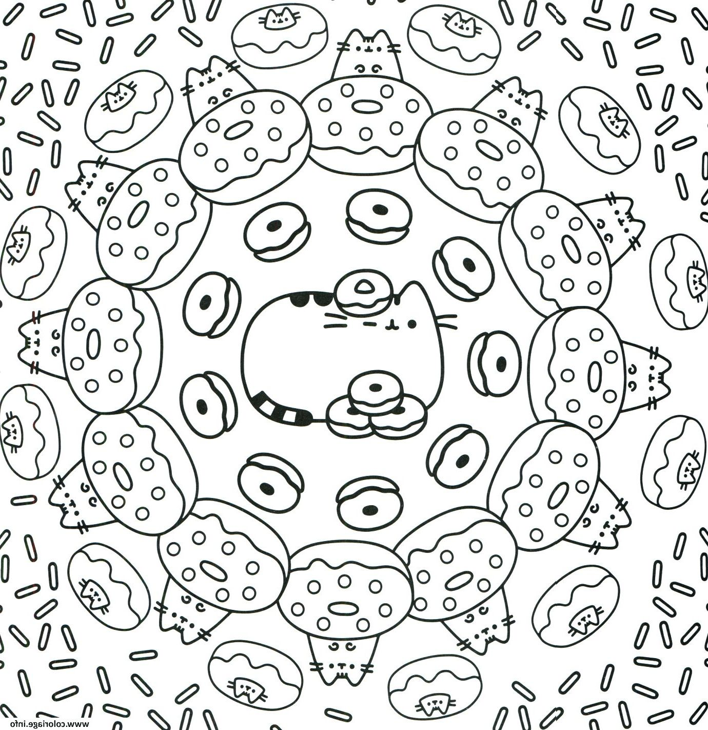 pusheen the cat donuts pattern coloriage dessin | Unicorn ...