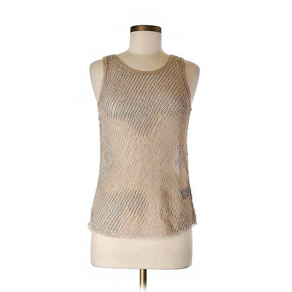 Pre-owned H&M Tank Top Size 0: Tan Women's Tops ($21) ❤ liked on Polyvore featuring tops and tan