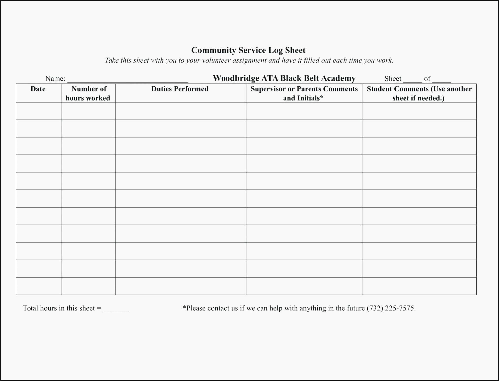 Community Service Hours form Template Luxury How You Can