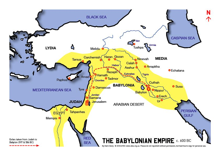 Map Of The Babylonian Empire Circa 600 Bc And The Likely Route The