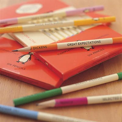 Oh! A 6-pack of Penguin Classic Pencils in a box reminiscent of the classic Penguin book covers. If only they were still in stock!  (via Pedlars)